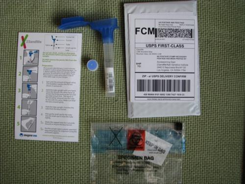 Содержимое коробки с тестовым набором 23andMe
