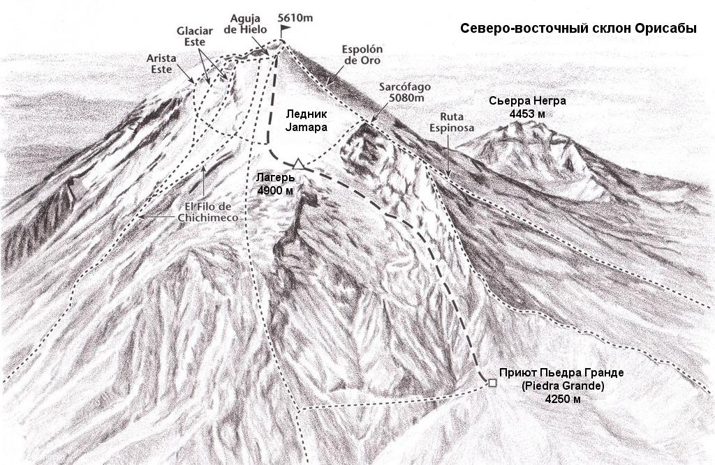 Маршрут восхождения на Орисабу по северо-восточному склону