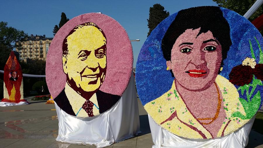 портрет Алиева из цветов
